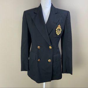 Ralph Lauren Black Crest Blazer Jacket 4 Small